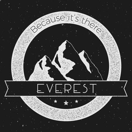 Mountain Everest outdoor adventure insignia. Climbing, trekking, hiking, mountaineering and other extreme activities logo template.