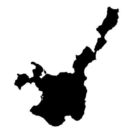 石垣市の地図。アイランドシルエットアイコン。孤立した石垣黒地図の概要。ベクトルイラスト。