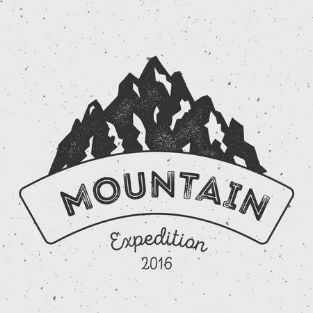 Mountain adventure and expedition insignia badge collection. Outdoor expedition icon . Climbing stamped t-shirt print. Illustration