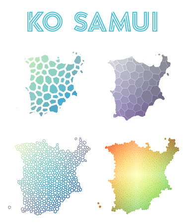 Ko Samui polygonal island map. Mosaic style maps collection. Bright abstract tessellation, geometric, low poly, modern design. Ko Samui polygonal maps for infographics or presentation. Ilustracja