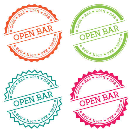 Open bar badge isolated on white background. Flat style round label with text. Circular emblem vector illustration.