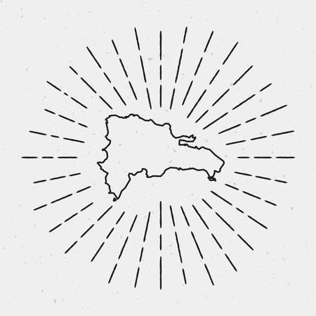 Vector Dominican Republic Map Outline with Retro Sunburst Border. Hand Drawn Hipster Decoration Element. Black Radiant Light Rays on White Background.
