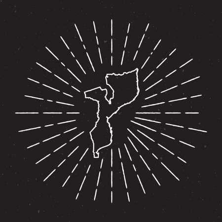 Mozambique Vector Map Outline with Vintage Sunburst Border. Hand Drawn Map with Hipster Decoration Element. Radiant Light rays  on black background. Illustration