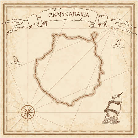 Gran Canaria old treasure map. Sepia engraved template of pirate island parchment. Stylized manuscript on vintage paper. Illustration