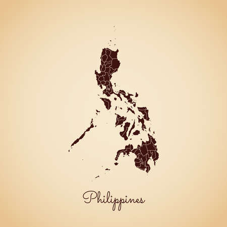 Philippines region map: retro style brown outline on old paper background. Detailed map of Philippines regions. Vector illustration. Ilustrace