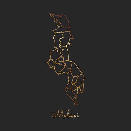 Malawi region map: golden gradient outline on dark background. Detailed map of Malawi regions. Vector illustration.