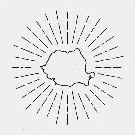 Profilo di mappa vettoriale Romania con bordo retrò Sunburst. Elemento di decorazione hipster disegnati a mano. Raggi luminosi radianti neri su fondo bianco.