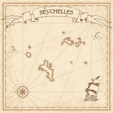 Seychelles old treasure map. Sepia engraved template of pirate island parchment. Stylized manuscript on vintage paper.