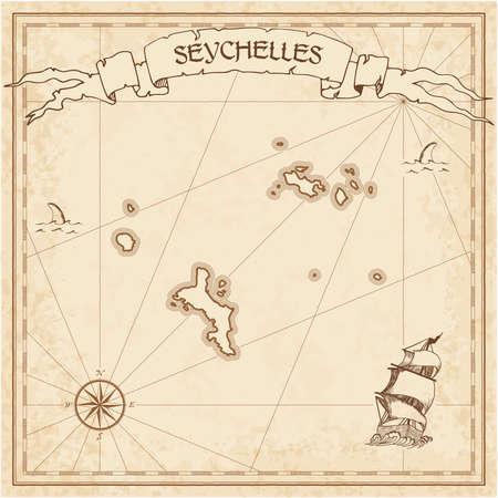 Vecchia mappa del tesoro delle Seychelles. Modello inciso color seppia della pergamena dell'isola dei pirati. Manoscritto stilizzato su carta vintage.