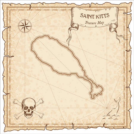 Saint Kitts old pirate map. Sepia engraved parchment template of treasure island. Stylized manuscript on vintage paper.