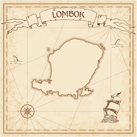 Lombok old treasure map. Sepia engraved template of pirate island parchment. Stylized manuscript on vintage paper.