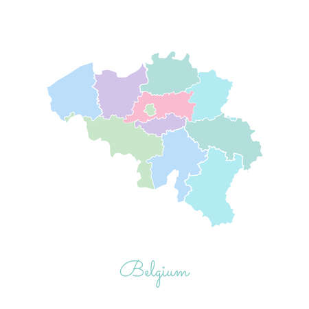 Belgium region map: colorful with white outline. Detailed map of Belgium regions. Vector illustration.