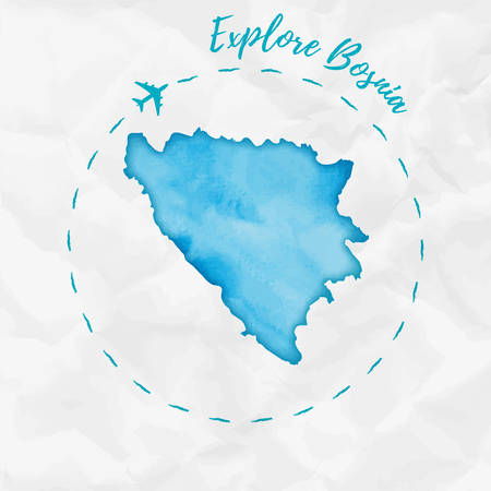 Bosnia watercolor map in turquoise colors. Explore Bosnia poster with airplane trace and handpainted watercolor Bosnia map on crumpled paper. Vector illustration.