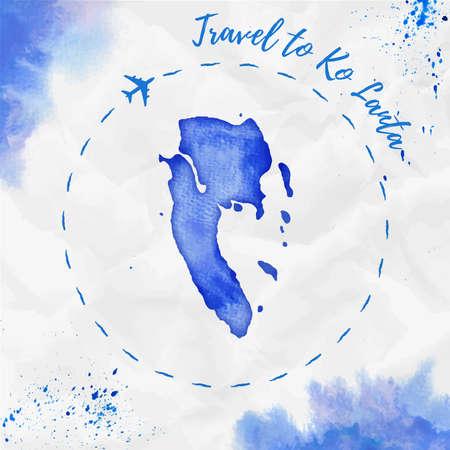 Mapa wyspy Ko Lanta akwarela w kolorach niebieskim. Plakat podróż do Ko Lanta ze śladem samolotu i ręcznie malowaną akwarelową mapą Ko Lanta na zmiętym papierze. Ilustracja wektorowa.