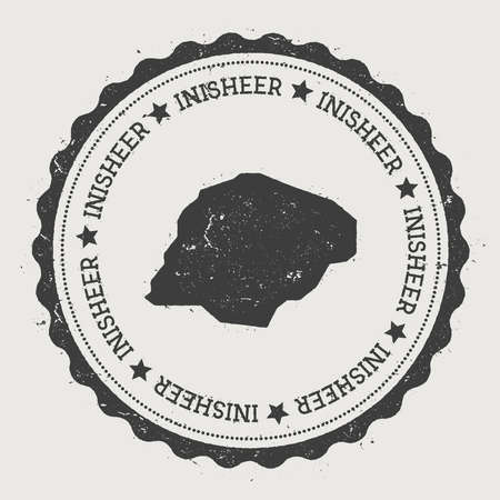 Inisheer sticker. Hipster round rubber stamp with island map. Vintage passport sign with circular text and stars, vector illustration.