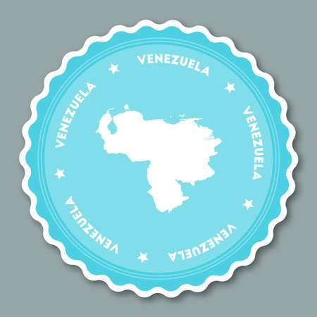 Venezuela, Bolivarian Republic of sticker flat design. Round flat style badges of trendy colors with country map and name. Country sticker vector illustration. Illustration