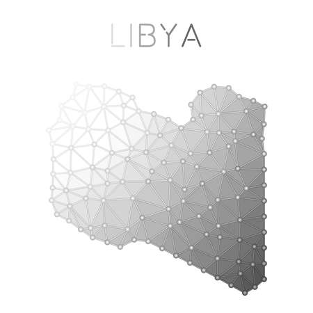 Libya polygonal vector ma, molecular structure country map design. Network connections polygonal Libya map in geometric style for your infographics.