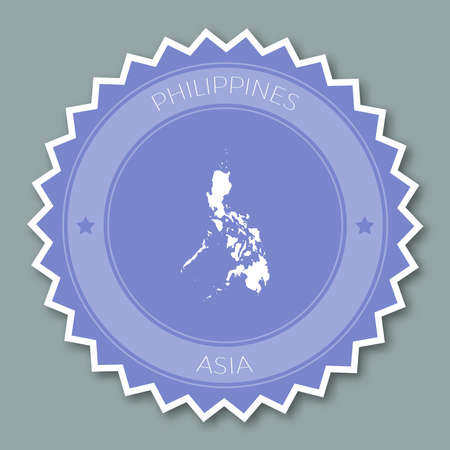 Philippines badge flat design. Round flat style sticker of trendy colors with country map and name. Country badge vector illustration. Illustration