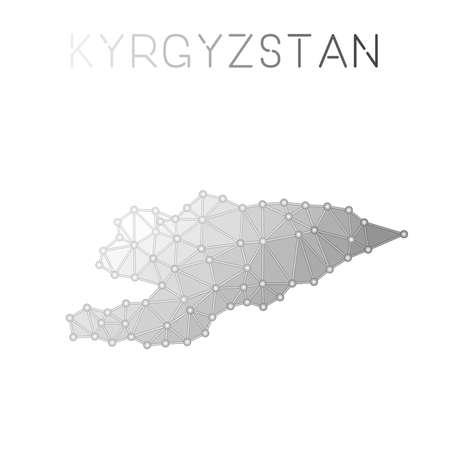 Kirghizistan poligonale mappa vettoriale. Progettazione di mappe di paesi con strutture molecolari. Mappa di Kirghizistan poligonale di connessioni di rete in stile geometrico per il tuo infografica.
