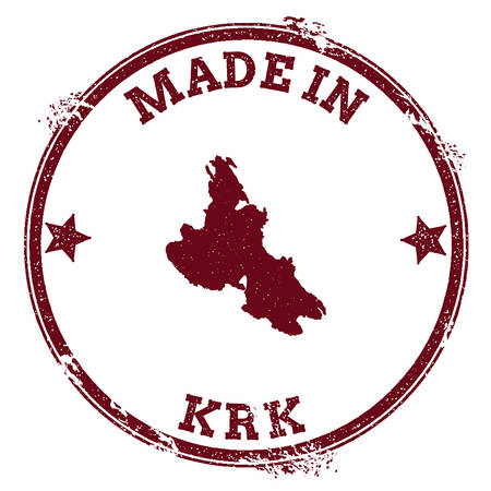Krk seal. Vintage island map sticker. Grunge rubber stamp with Made in text and map outline, vector illustration.
