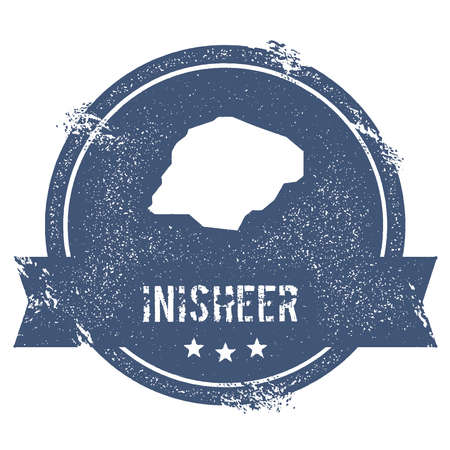 Inisheer logo sign. Travel rubber stamp with the name and map of island, vector illustration. Can be used as insignia, logotype, label, sticker or badge.
