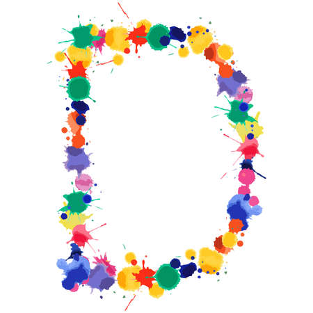 Letter D of hand made watercolor splash font. Bright colorful expressive blots alphabet. Vector illustration.