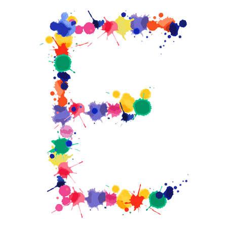 Letter E of hand made watercolor splash font. Bright colorful expressive blots alphabet. Vector illustration.
