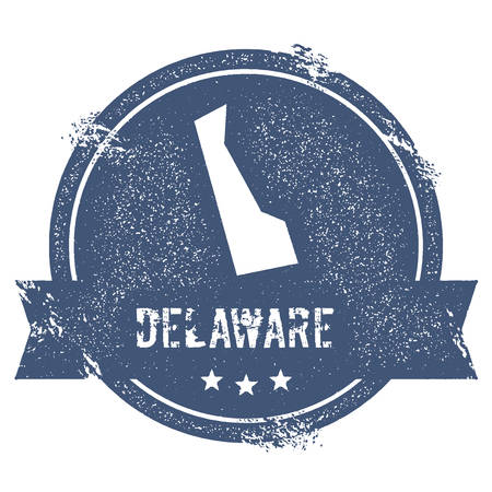 Delaware mark. Travel rubber stamp with the name and map of Delaware, vector illustration. Can be used as insignia, logotype, label, sticker or badge of USA state.