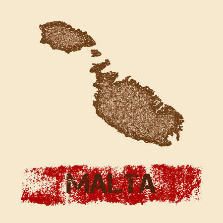 Malta distressed map. Grunge patriotic poster with textured island ink stamp and roller paint mark, vector illustration.