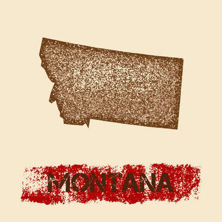 Montana distressed map. Grunge patriotic poster with textured state ink stamp and roller paint mark, vector illustration.