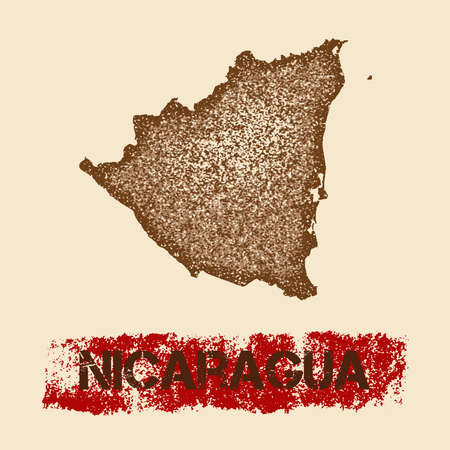 Nicaragua distressed map. Grunge patriotic poster with textured country ink stamp and roller paint mark, vector illustration.