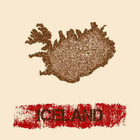 Iceland distressed map. Grunge patriotic poster with textured country ink stamp and roller paint mark, vector illustration.