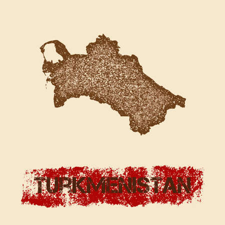 Turkmenistan distressed map. Grunge patriotic poster with textured country ink stamp and roller paint mark, vector illustration.