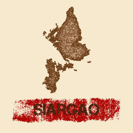 Siargao distressed map. Grunge patriotic poster with textured island ink stamp and roller paint mark, vector illustration.
