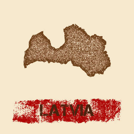 Latvia distressed map. Grunge patriotic poster with textured country ink stamp and roller paint mark, vector illustration. Illustration