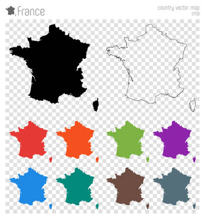 France high detailed map. Country silhouette icon. Isolated France black map outline. Vector illustration. Иллюстрация