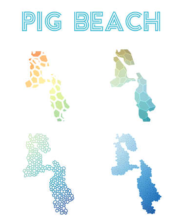 Pig Beach polygonal island map. Mosaic style maps collection. Bright abstract tessellation, geometric, low poly, modern design. Pig Beach polygonal maps for infographics or presentation.