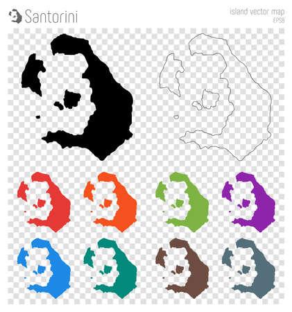 Santorini high detailed map. Island silhouette icon. Isolated Santorini black map outline. Vector illustration.  イラスト・ベクター素材