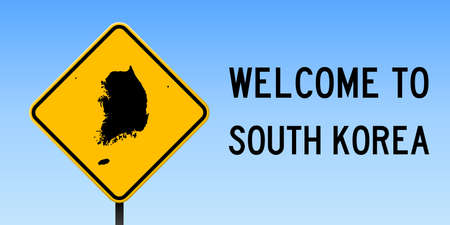 South Korea map on road sign. Wide poster with South Korea country map on yellow rhomb road sign. Vector illustration. Illustration