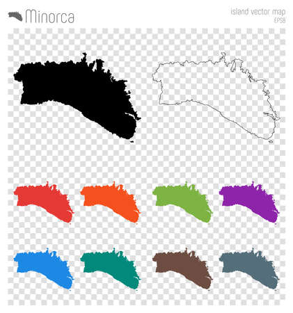 Minorca high detailed map. Island silhouette icon. Isolated Minorca black map outline. Vector illustration. Illustration