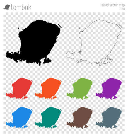 Lombok high detailed map. Island silhouette icon. Isolated Lombok black map outline. Vector illustration.