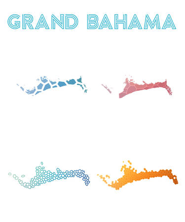 Grand Bahama polygonal island map. Mosaic style maps collection. Bright abstract tessellation, geometric, low poly, modern design. Grand Bahama polygonal maps for infographics or presentation.