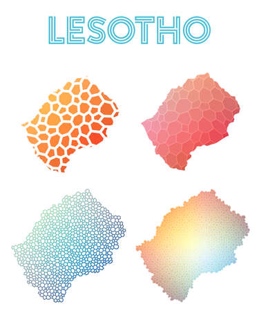 Lesotho polygonal map. Mosaic style maps collection. Bright abstract tessellation, geometric, low poly, modern design. Lesotho polygonal maps for infographics or presentation.