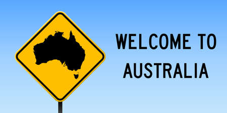 Australia map on road sign. Wide poster with Australia country map on yellow rhombus road sign vector illustration.