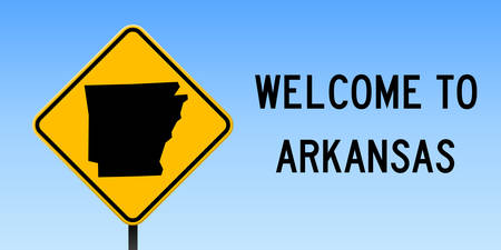 Arkansas map on road sign. Wide poster with Arkansas us state map on yellow rhombus road sign vector illustration.