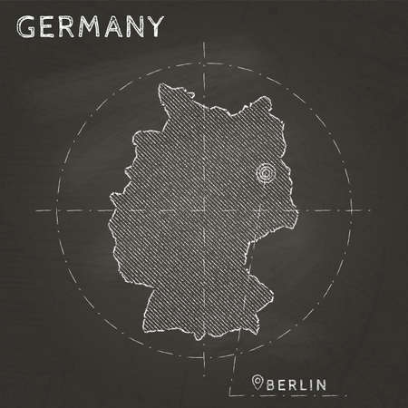 Germany blueprint map template with capital city berlin marked germany chalk map with capital marked hand drawn on textured school blackboard chalk germany outline gumiabroncs Image collections
