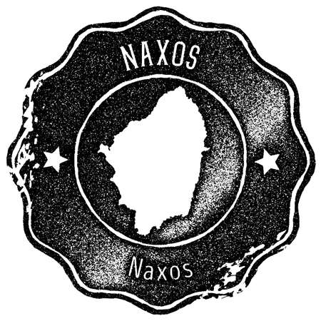 Naxos map vintage stamp. Retro style handmade label, badge or element for travel souvenirs. Black rubber stamp with island map silhouette. Vector illustration. Illustration