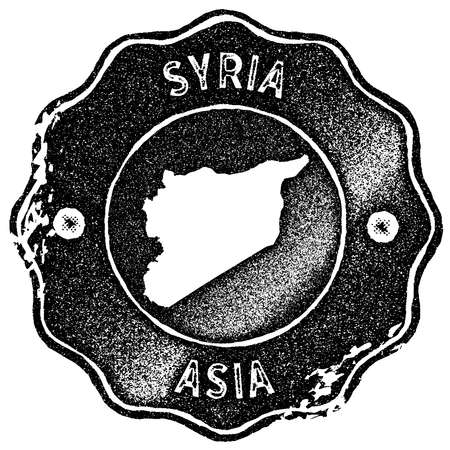 Syria map vintage stamp. Retro style handmade label, badge or element for travel souvenirs. Black rubber stamp with country map silhouette. Vector illustration.