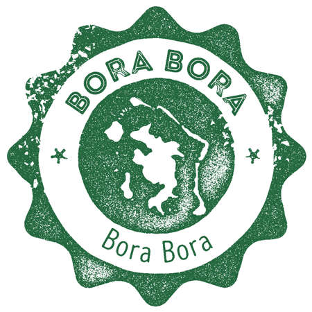 Bora Bora map vintage stamp. Retro style handmade label, badge or element for travel souvenirs. Dark green rubber stamp with island map silhouette. Vector illustration.