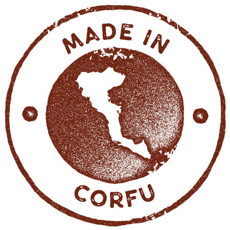 Corfu map vintage stamp. Retro style handmade label, badge or element for travel souvenirs. Red rubber stamp with island map silhouette. Vector illustration.